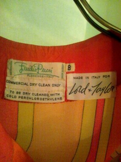 画像1: ♡Rental Dress EMILIO PUCCI(エミリオプッチ)ヴィンテージオレンジ×イエロー×ピンクシルクジャージードレス