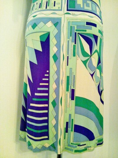 画像2: ♡Rental Dress EMILIO PUCCI(エミリオプッチ)ヴィンテージグリーン×パープルフロントジップシルクジャージーミニドレス