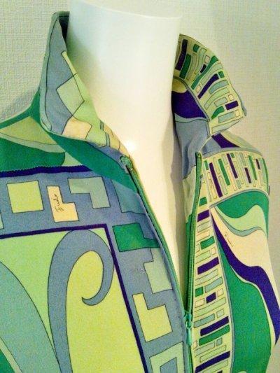 画像3: ♡Rental Dress EMILIO PUCCI(エミリオプッチ)ヴィンテージグリーン×パープルフロントジップシルクジャージーミニドレス