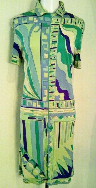 画像1: ♡Rental Dress EMILIO PUCCI(エミリオプッチ)ヴィンテージグリーン×パープルフロントジップシルクジャージーミニドレス (1)