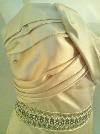 画像3: ♡Rental Dress CHRISTIAN DIOR(クリスチャンディオール)オフホワイトコットンシルクビジュー付きイブニングドレス