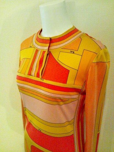 画像2: ♡Rental Dress EMILIO PUCCI(エミリオプッチ)ヴィンテージオレンジ×イエロー×ピンクシルクジャージードレス