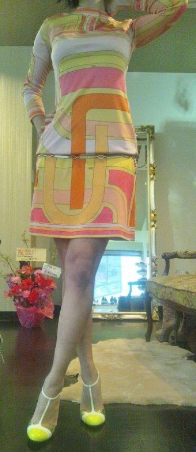 画像3: ♡Rental Dress EMILIO PUCCI(エミリオプッチ)ヴィンテージオレンジ×イエロー×ピンクシルクジャージードレス