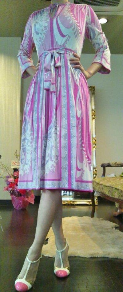 画像3: ♡Rental Dress EMILIO PUCCI(エミリオプッチ)ヴィンテージピンク×ラベンダー×ホワイトリボン付きシルクジャージードレス