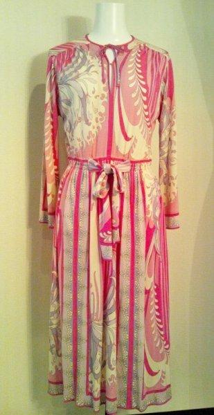画像1: ♡Rental Dress EMILIO PUCCI(エミリオプッチ)ヴィンテージピンク×ラベンダー×ホワイトリボン付きシルクジャージードレス (1)