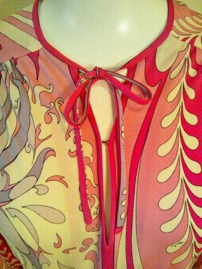 画像2: ♡Rental Dress EMILIO PUCCI(エミリオプッチ)ヴィンテージピンク×ラベンダー×ホワイトリボン付きシルクジャージードレス