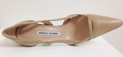 画像3: MANOLO BLAHNIK(マノロブラニク)ベージュレザー×パテントコンビパンプス38