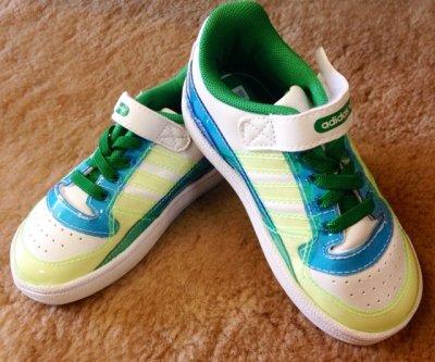 画像3: adidas(アディダス)ホワイト×グリーン×ブルーFORUM LO XL EL IキッズスニーカーUS7K