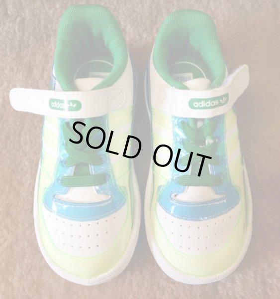 画像1: adidas(アディダス)ホワイト×グリーン×ブルーFORUM LO XL EL IキッズスニーカーUS7K (1)