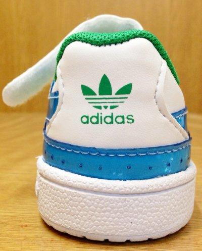 画像2: adidas(アディダス)ホワイト×グリーン×ブルーFORUM LO XL EL IキッズスニーカーUS7K