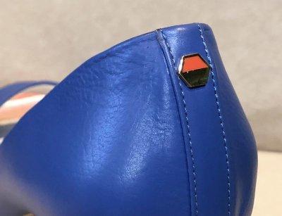 画像2: BRUNO MAGLI(ブルーノマリ)ブルー×マルチカラーストライプヒールオープントゥパンプス24