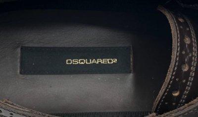画像2: DSQUARED2(ディースクエアード)ダークブラウンレザーウィングチップレースアップシューズ42 1/2