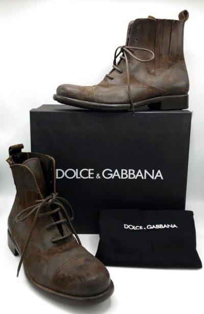 画像1: DOLCE&GABBANA(ドルチェ&ガッバーナ)ダークブラウンダメージ加工レースアップサイドゴアショートブーツ9
