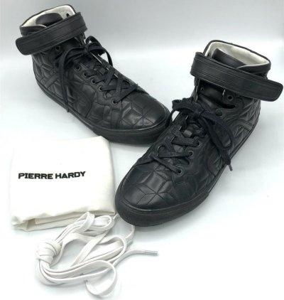 画像1: PIERRE HARDY(ピエールアルディ)ブラックキルティングレザーベルクロ付きハイカットスニーカー41