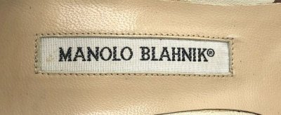 画像2: MANOLO BLAHNIK(マノロブラニク)シャイニーベージュ×ブラウンスエード飾りつきストラップパンプス36 1/2