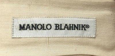 画像1: MANOLO BLAHNIK(マノロブラニク)ベビーピンクコサージュ付きファブリックミュール38