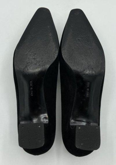 画像1: OLD FERRAGAMO(オールドフェラガモ) ブラックスエードパンプス 6C