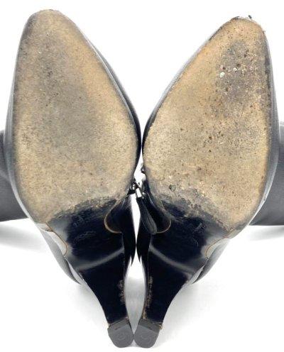 画像1: OLD FERRAGAMO(オールドフェラガモ) ブラックレザーロングブーツ 6C