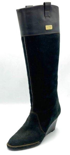 画像1: OLD FERRAGAMO(オールドフェラガモ) ブラックスエード×レザーウェッジロングブーツ 5D (1)