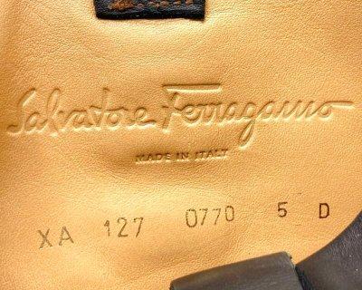 画像2: OLD FERRAGAMO(オールドフェラガモ) ブラックスエード×レザーウェッジロングブーツ 5D